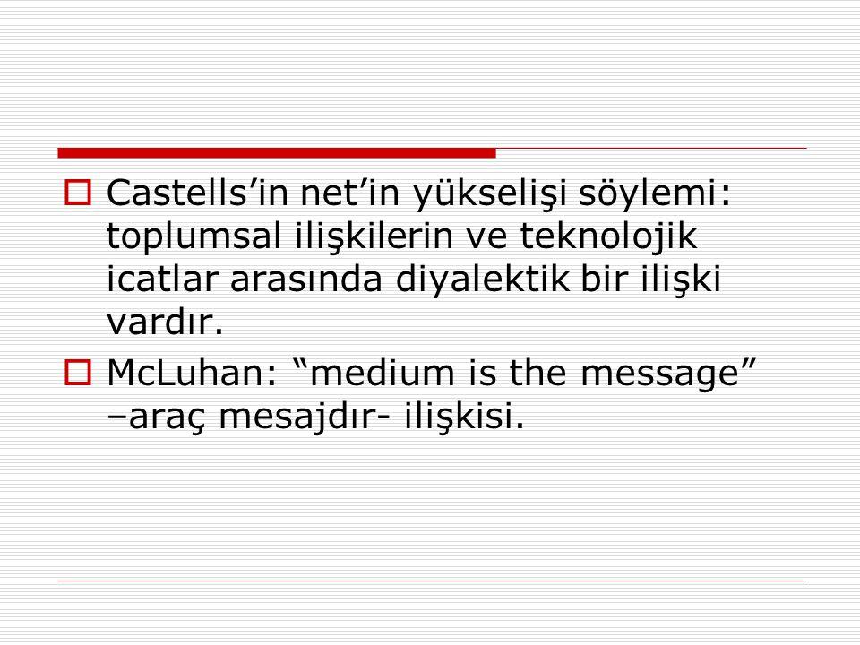 Castells'in net'in yükselişi söylemi: toplumsal ilişkilerin ve teknolojik icatlar arasında diyalektik bir ilişki vardır.
