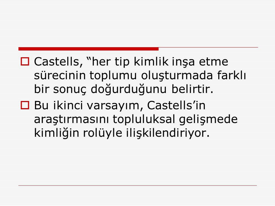 Castells, her tip kimlik inşa etme sürecinin toplumu oluşturmada farklı bir sonuç doğurduğunu belirtir.