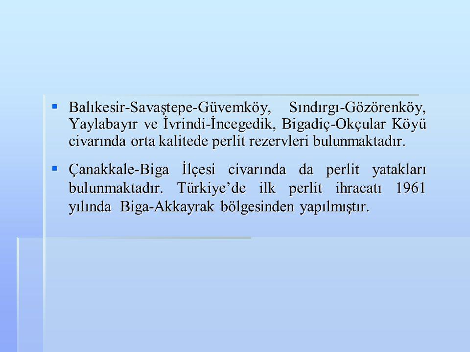 Balıkesir-Savaştepe-Güvemköy, Sındırgı-Gözörenköy, Yaylabayır ve İvrindi-İncegedik, Bigadiç-Okçular Köyü civarında orta kalitede perlit rezervleri bulunmaktadır.