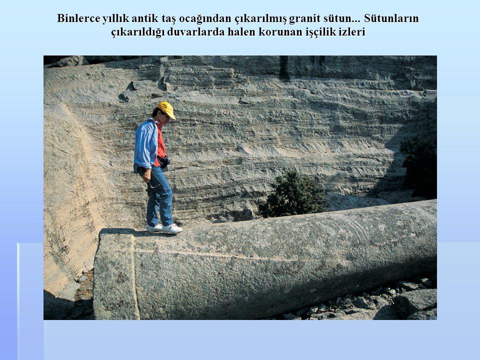 Binlerce yıllık antik taş ocağından çıkarılmış granit sütun