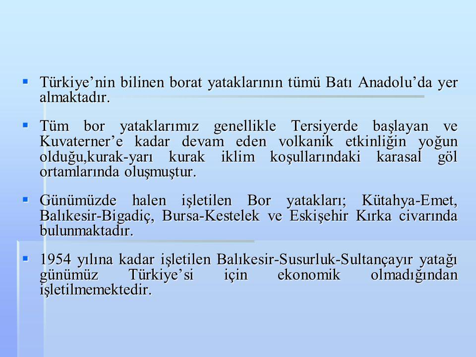 Türkiye'nin bilinen borat yataklarının tümü Batı Anadolu'da yer almaktadır.
