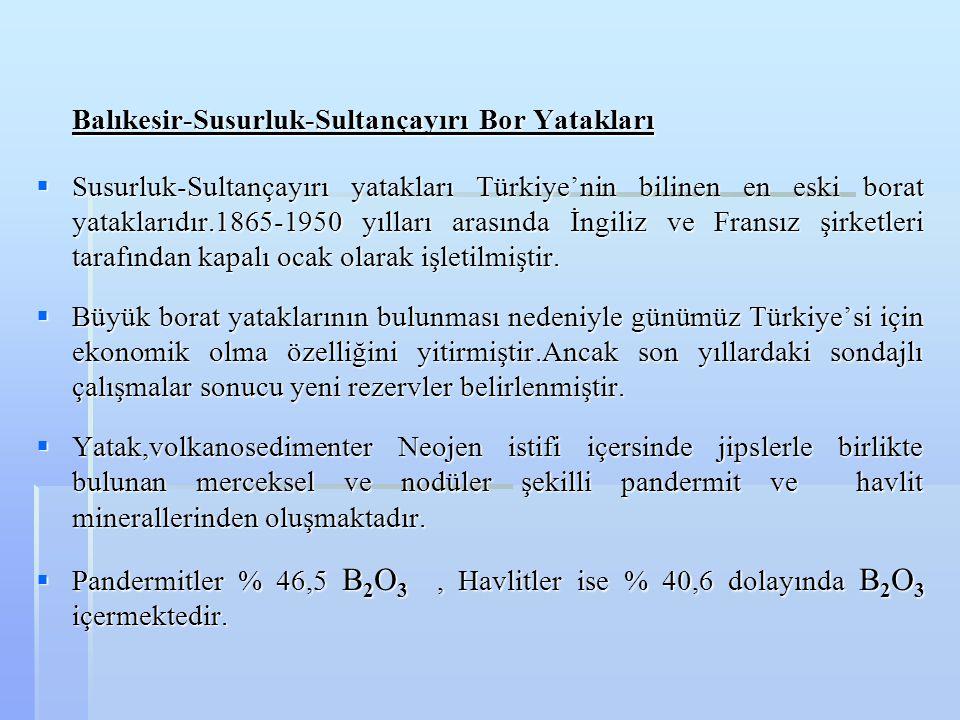 Balıkesir-Susurluk-Sultançayırı Bor Yatakları