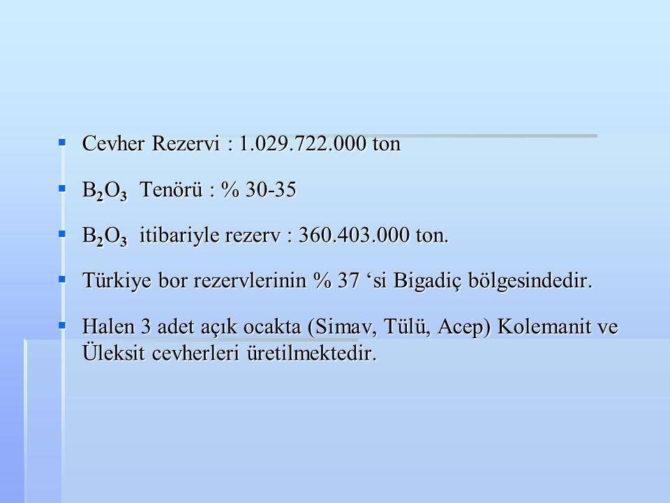 Cevher Rezervi : 1.029.722.000 ton B2O3 Tenörü : % 30-35. B2O3 itibariyle rezerv : 360.403.000 ton.