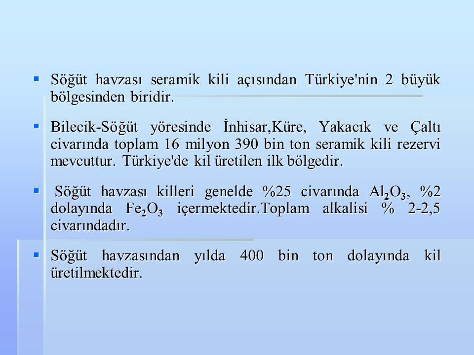 Söğüt havzası seramik kili açısından Türkiye nin 2 büyük bölgesinden biridir.
