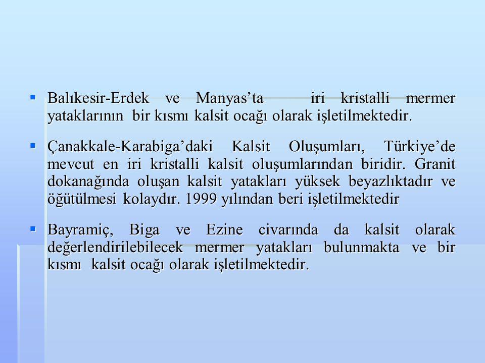 Balıkesir-Erdek ve Manyas'ta iri kristalli mermer yataklarının bir kısmı kalsit ocağı olarak işletilmektedir.