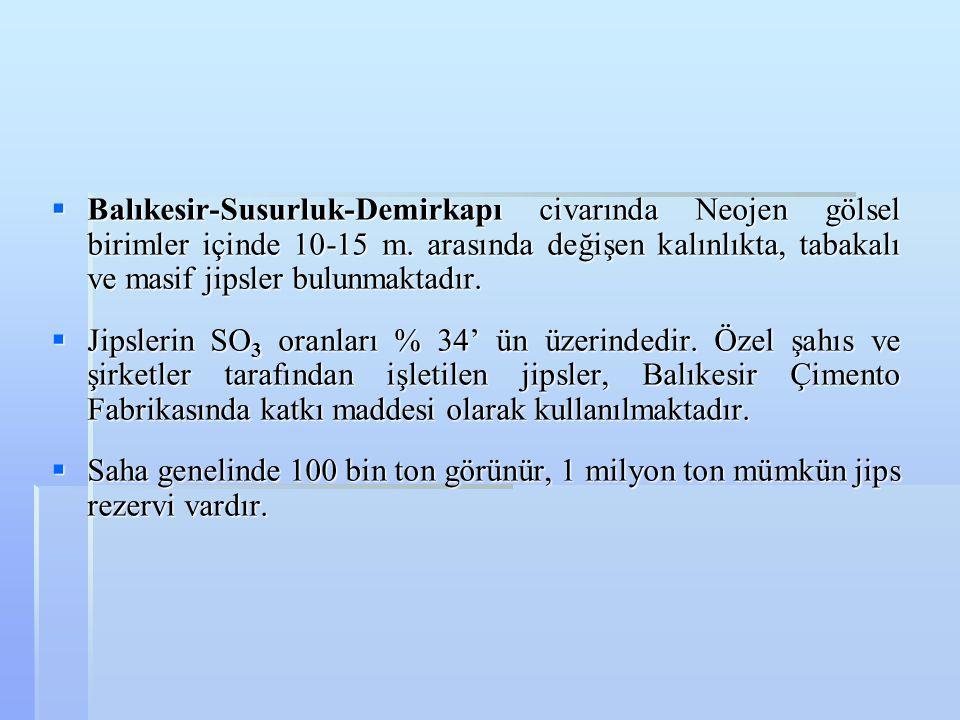 Balıkesir-Susurluk-Demirkapı civarında Neojen gölsel birimler içinde 10-15 m. arasında değişen kalınlıkta, tabakalı ve masif jipsler bulunmaktadır.