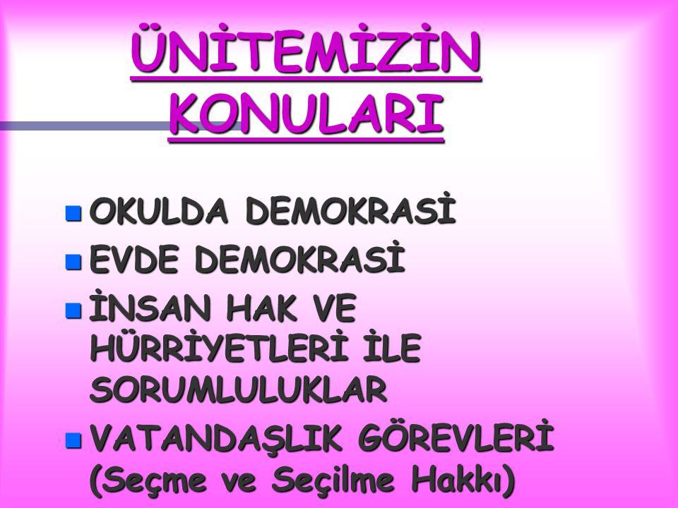 ÜNİTEMİZİN KONULARI OKULDA DEMOKRASİ EVDE DEMOKRASİ