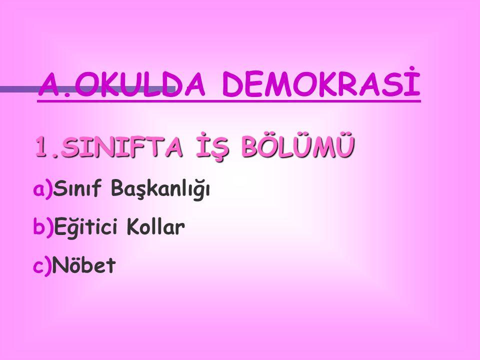 A.OKULDA DEMOKRASİ 1.SINIFTA İŞ BÖLÜMÜ a)Sınıf Başkanlığı