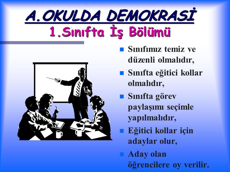 A.OKULDA DEMOKRASİ 1.Sınıfta İş Bölümü