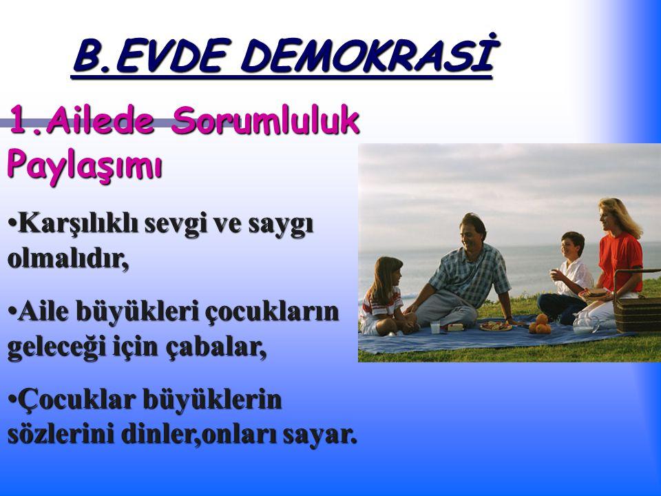 B.EVDE DEMOKRASİ 1.Ailede Sorumluluk Paylaşımı