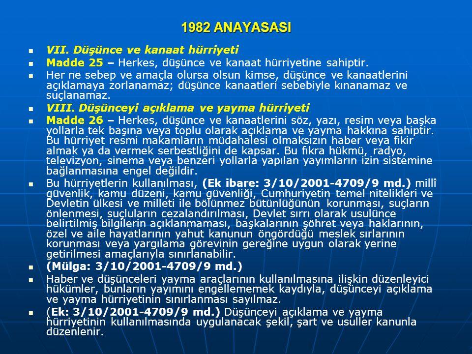 1982 ANAYASASI VII. Düşünce ve kanaat hürriyeti