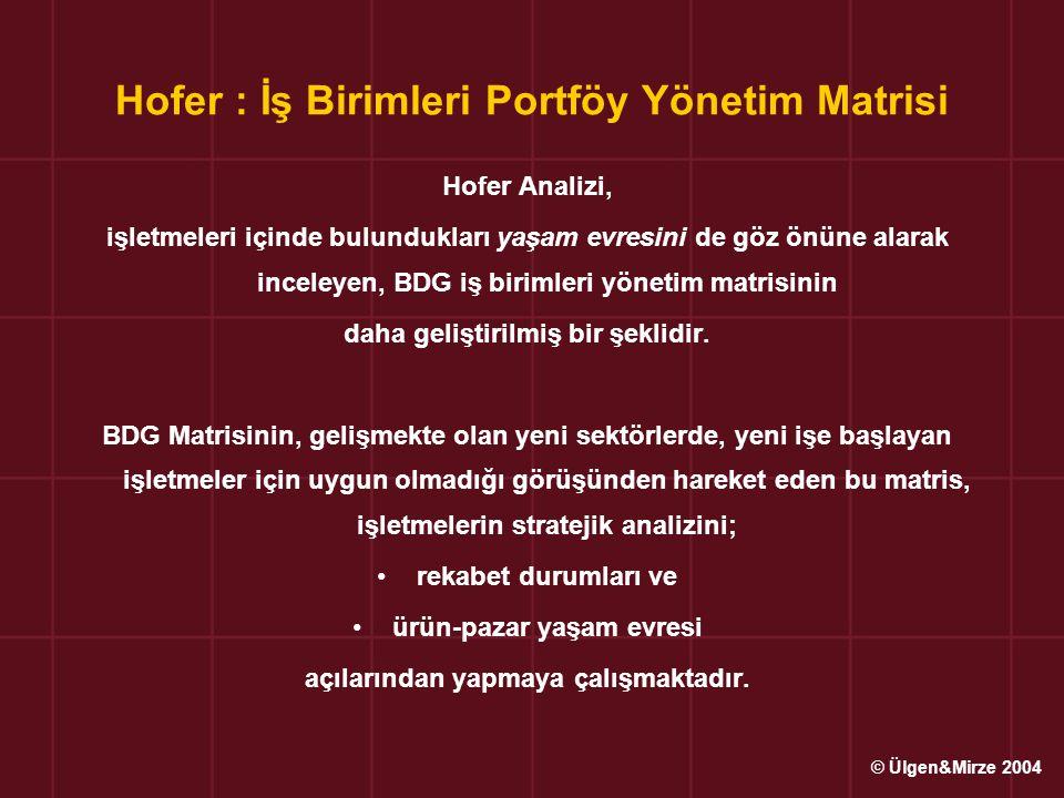 Hofer : İş Birimleri Portföy Yönetim Matrisi