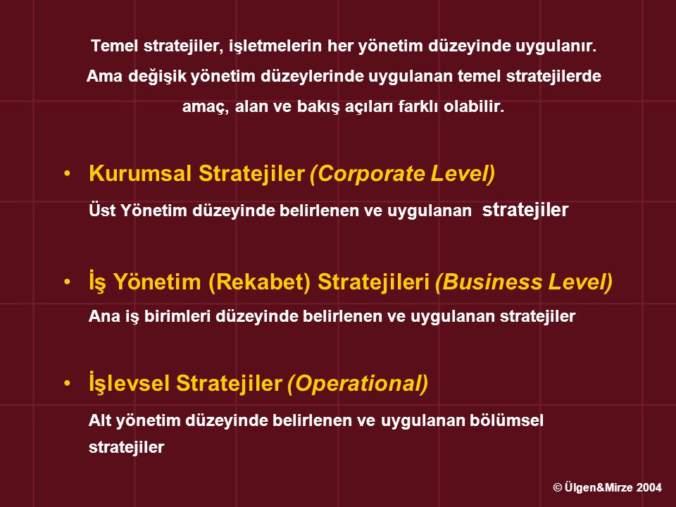 Kurumsal Stratejiler (Corporate Level)