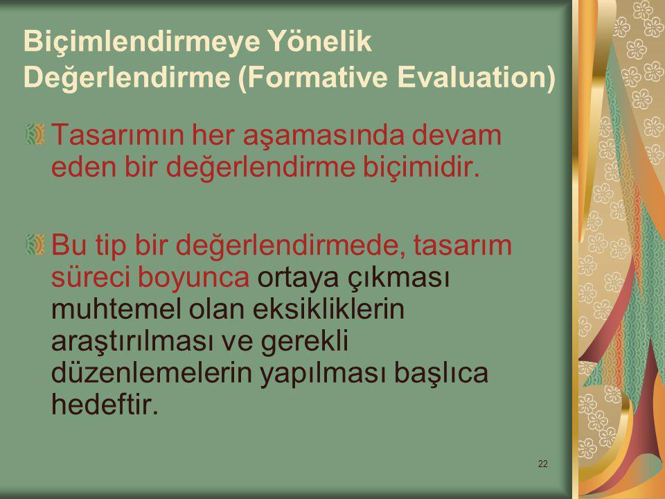 Biçimlendirmeye Yönelik Değerlendirme (Formative Evaluation)
