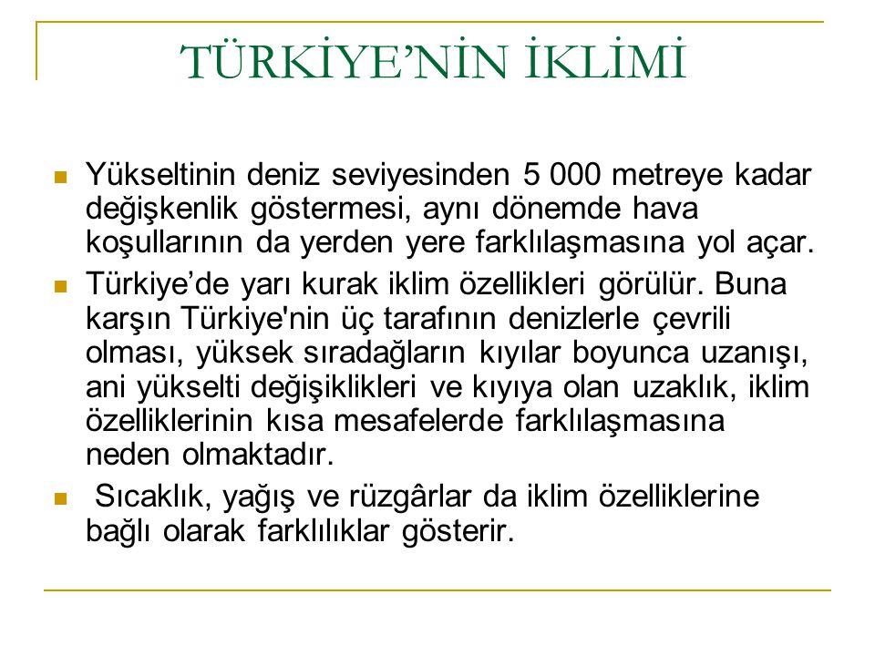 TÜRKİYE'NİN İKLİMİ