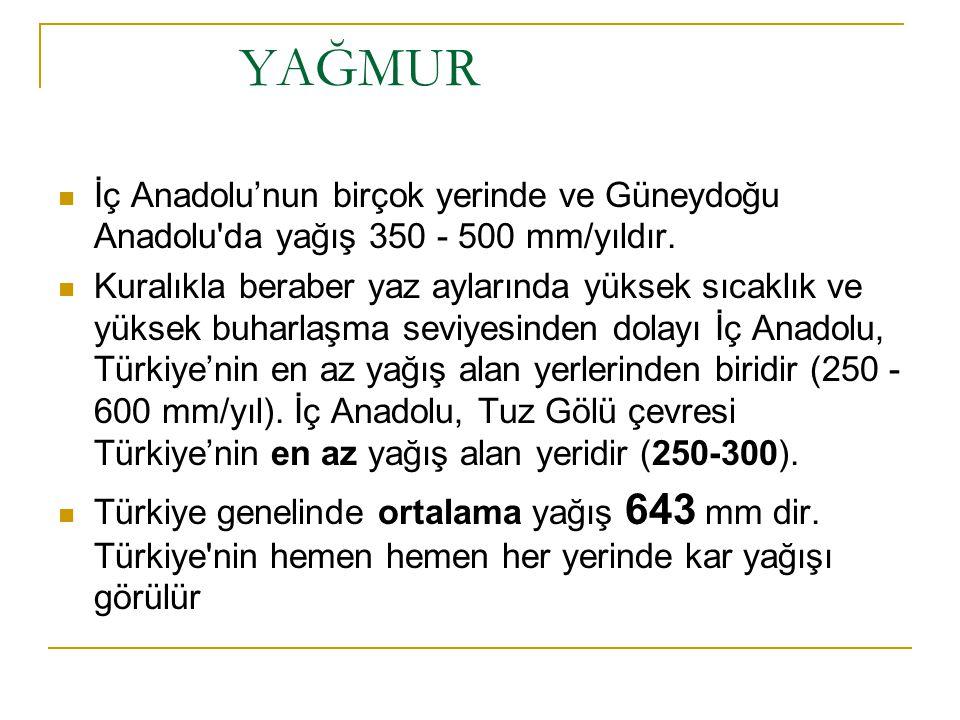 YAĞMUR İç Anadolu'nun birçok yerinde ve Güneydoğu Anadolu da yağış 350 - 500 mm/yıldır.