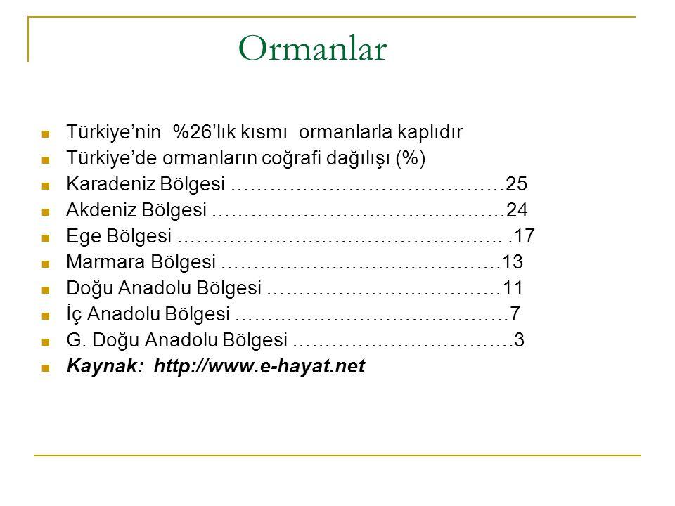 Ormanlar Türkiye'nin %26'lık kısmı ormanlarla kaplıdır
