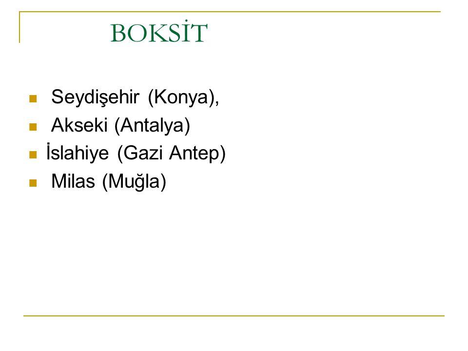 BOKSİT Seydişehir (Konya), Akseki (Antalya) İslahiye (Gazi Antep)