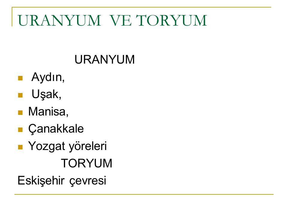 URANYUM VE TORYUM URANYUM Aydın, Uşak, Manisa, Çanakkale