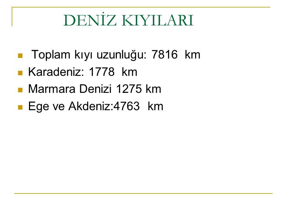 DENİZ KIYILARI Toplam kıyı uzunluğu: 7816 km Karadeniz: 1778 km