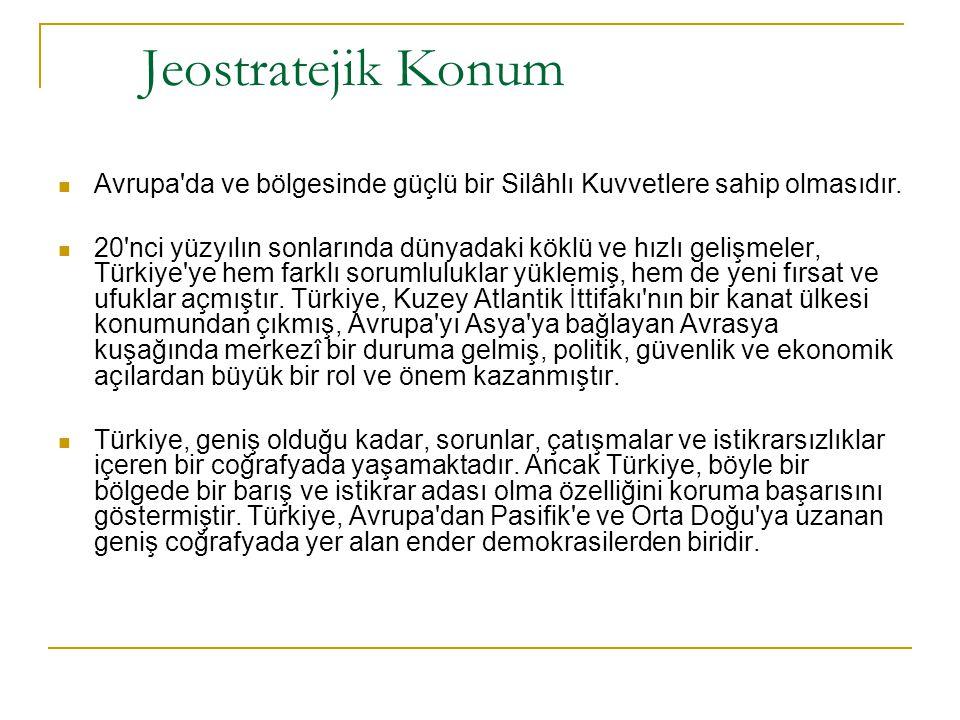 Jeostratejik Konum Avrupa da ve bölgesinde güçlü bir Silâhlı Kuvvetlere sahip olmasıdır.