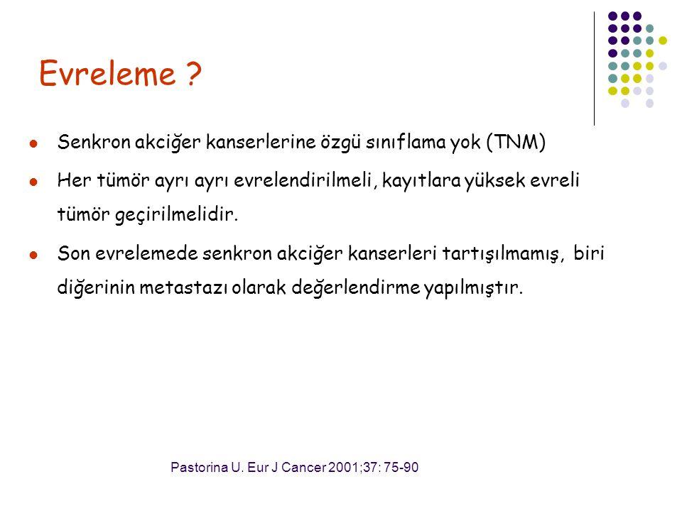 Evreleme Senkron akciğer kanserlerine özgü sınıflama yok (TNM)