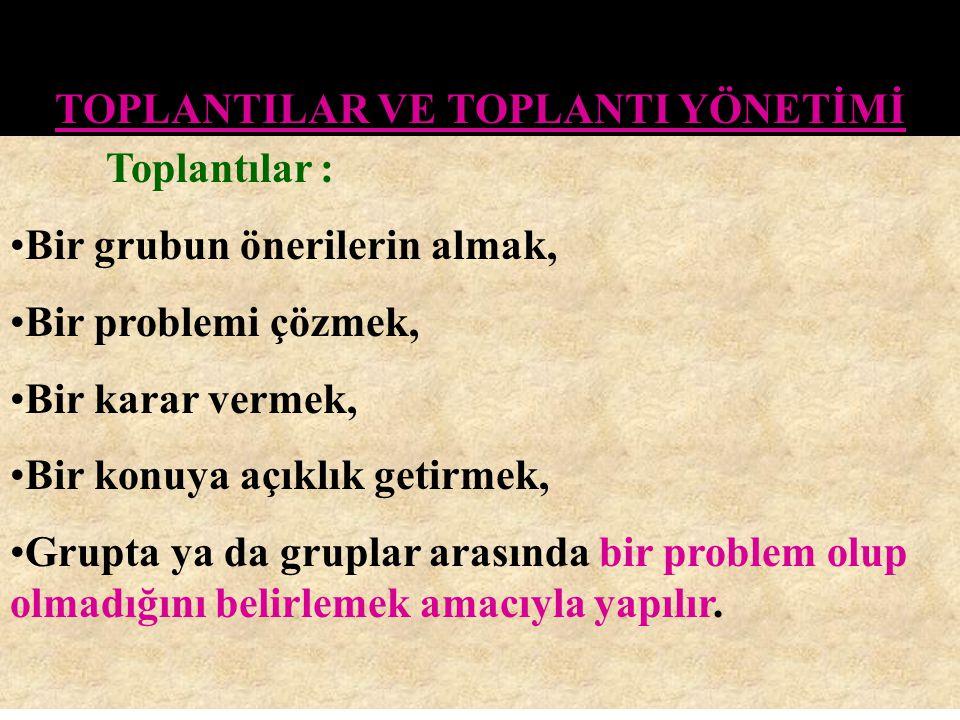TOPLANTILAR VE TOPLANTI YÖNETİMİ