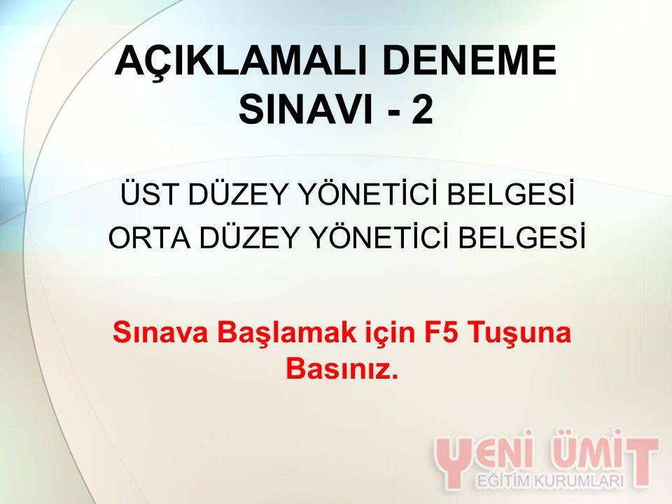 AÇIKLAMALI DENEME SINAVI - 2