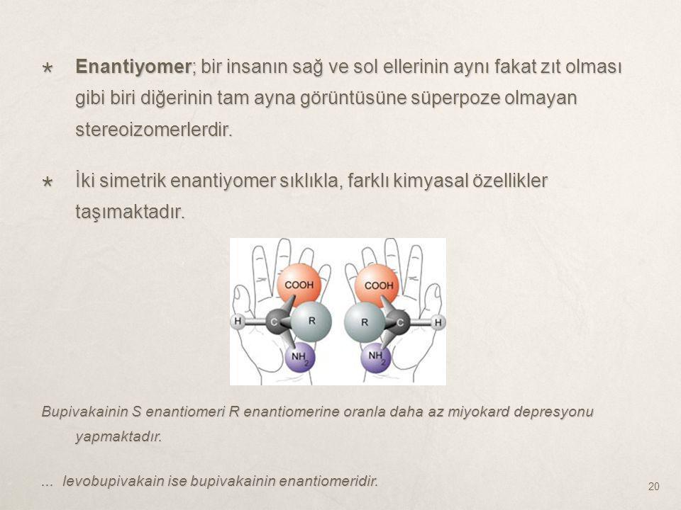Enantiyomer; bir insanın sağ ve sol ellerinin aynı fakat zıt olması gibi biri diğerinin tam ayna görüntüsüne süperpoze olmayan stereoizomerlerdir.