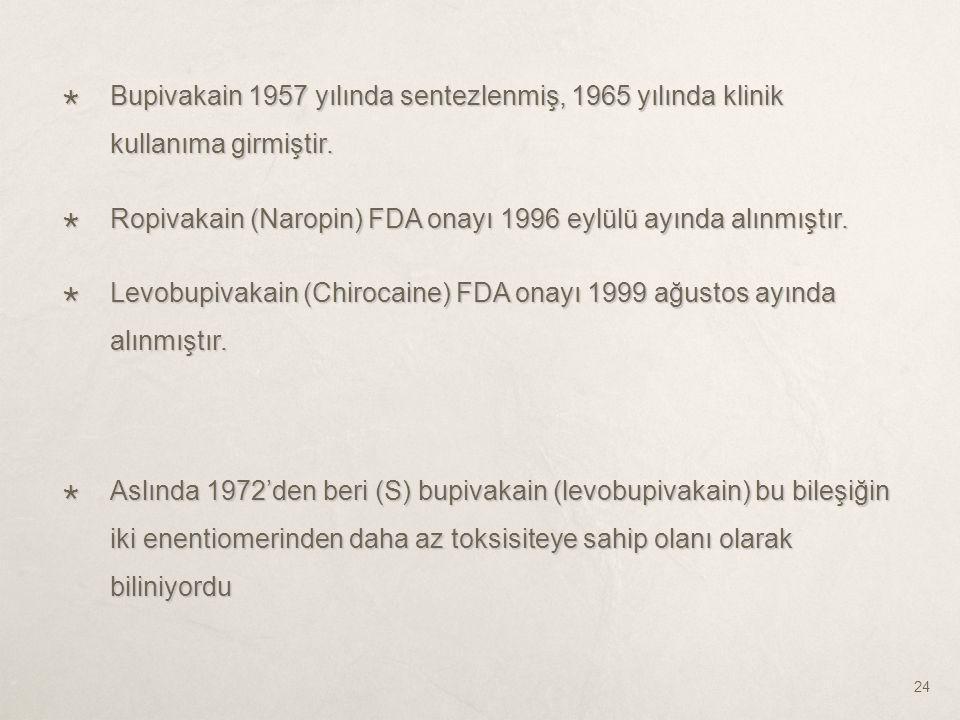 Bupivakain 1957 yılında sentezlenmiş, 1965 yılında klinik kullanıma girmiştir.