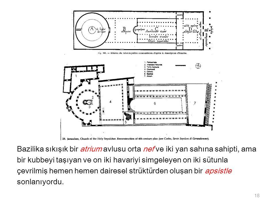 Bazilika sıkışık bir atrium avlusu orta nef ve iki yan sahına sahipti, ama