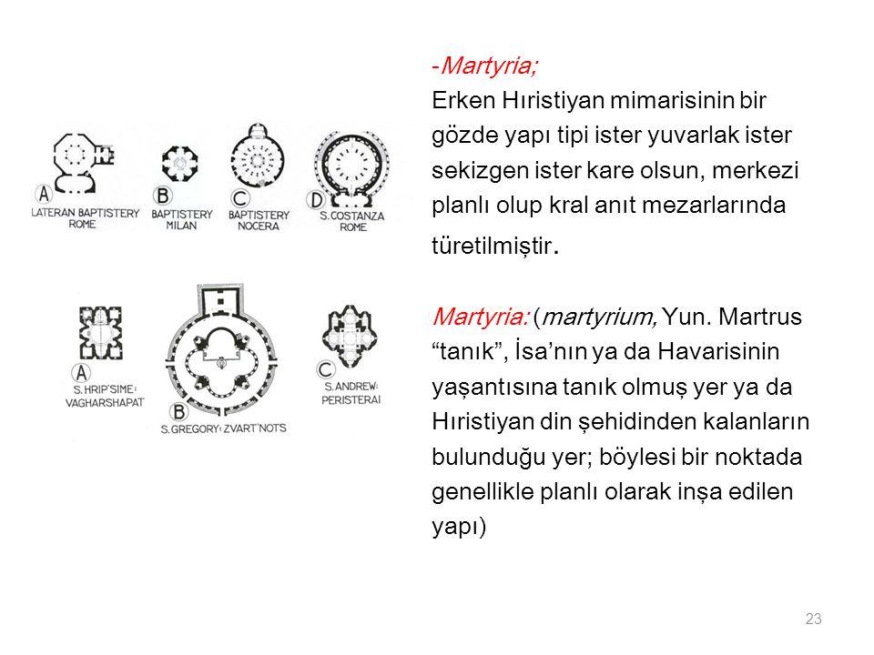-Martyria; Erken Hıristiyan mimarisinin bir. gözde yapı tipi ister yuvarlak ister. sekizgen ister kare olsun, merkezi.