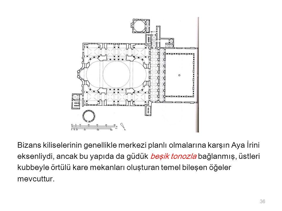 Bizans kiliselerinin genellikle merkezi planlı olmalarına karşın Aya İrini eksenliydi, ancak bu yapıda da güdük beşik tonozla bağlanmış, üstleri kubbeyle örtülü kare mekanları oluşturan temel bileşen öğeler mevcuttur.