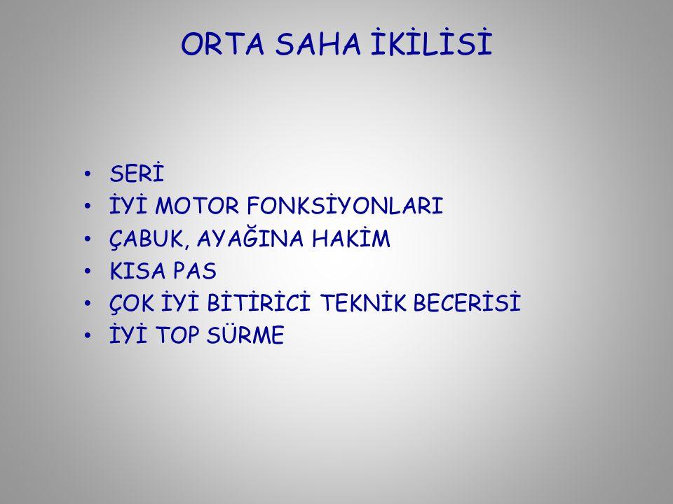 ORTA SAHA İKİLİSİ SERİ İYİ MOTOR FONKSİYONLARI ÇABUK, AYAĞINA HAKİM