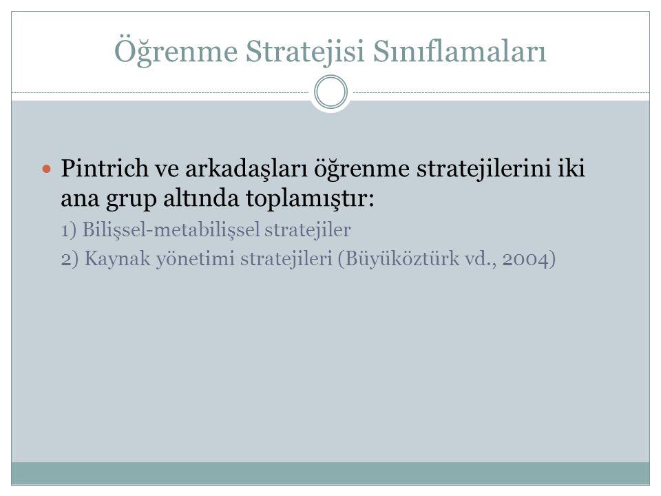 Öğrenme Stratejisi Sınıflamaları