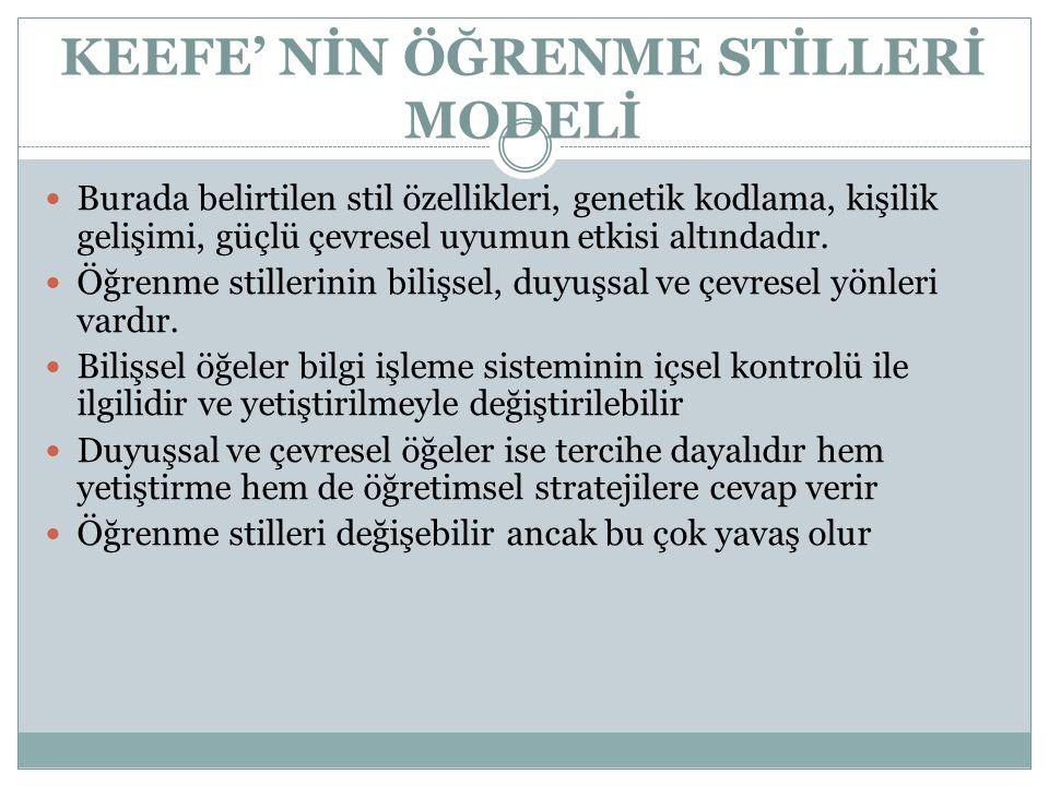 KEEFE' NİN ÖĞRENME STİLLERİ MODELİ