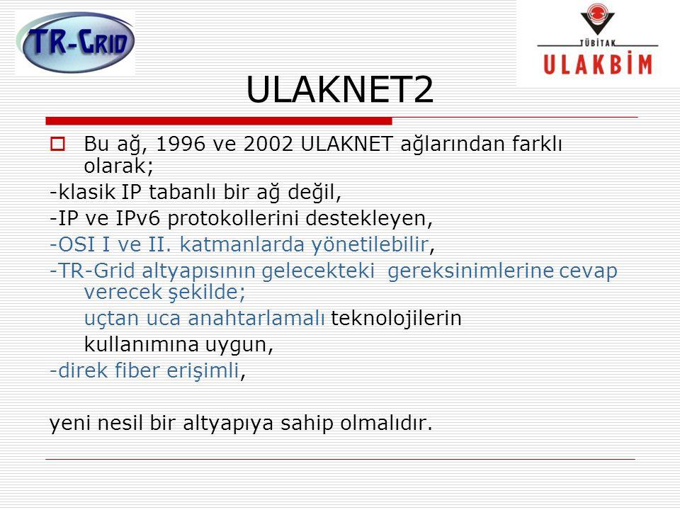 ULAKNET2 Bu ağ, 1996 ve 2002 ULAKNET ağlarından farklı olarak;
