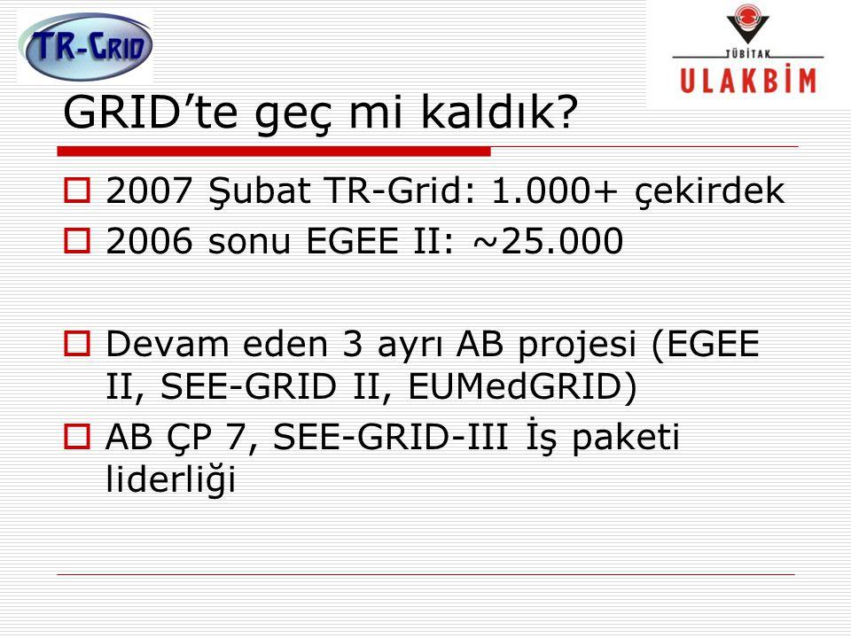 GRID'te geç mi kaldık 2007 Şubat TR-Grid: 1.000+ çekirdek