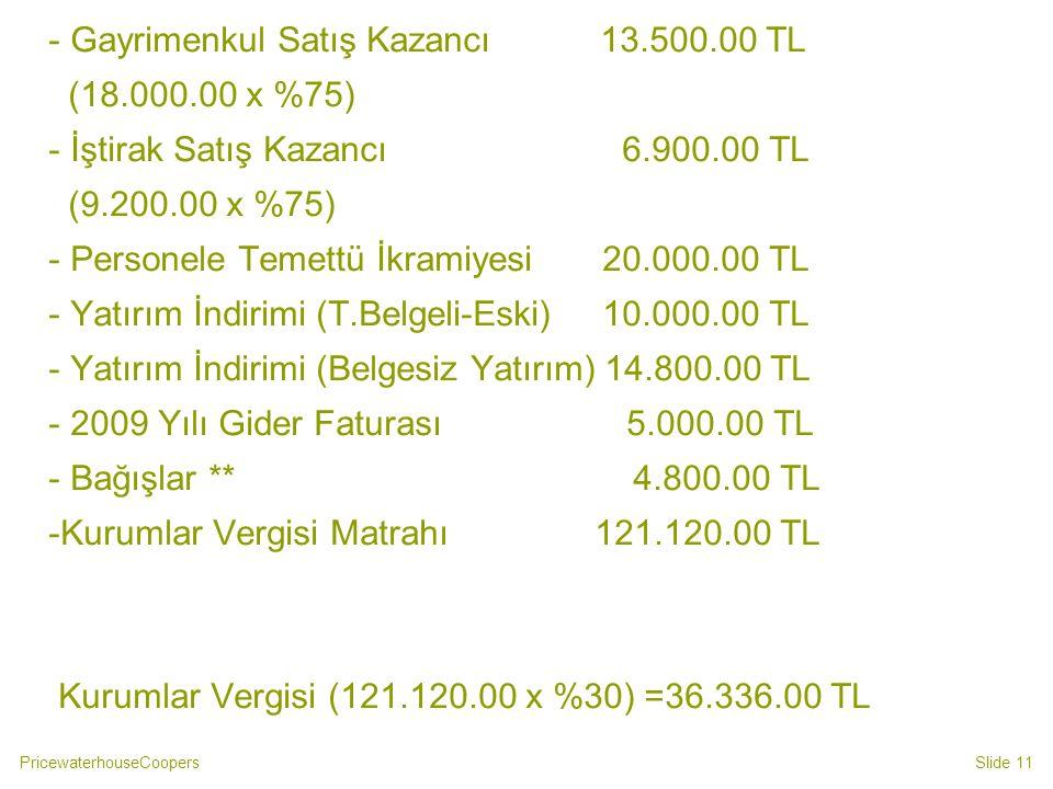 - Gayrimenkul Satış Kazancı 13.500.00 TL