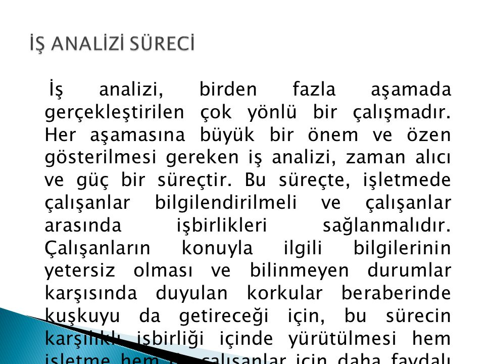 İŞ ANALİZİ SÜRECİ