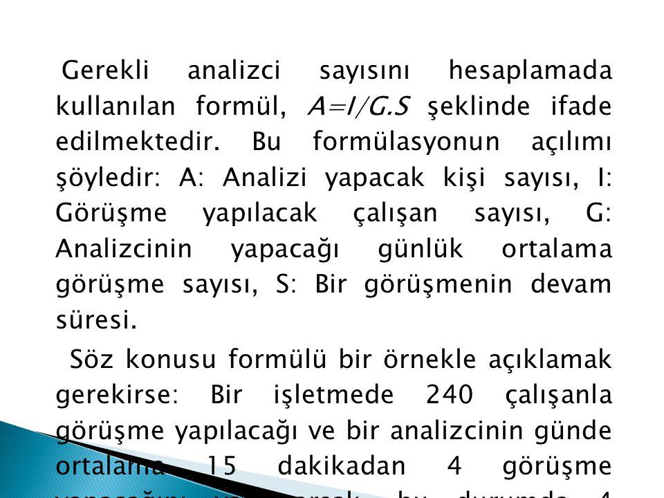Gerekli analizci sayısını hesaplamada kullanılan formül, A=I/G