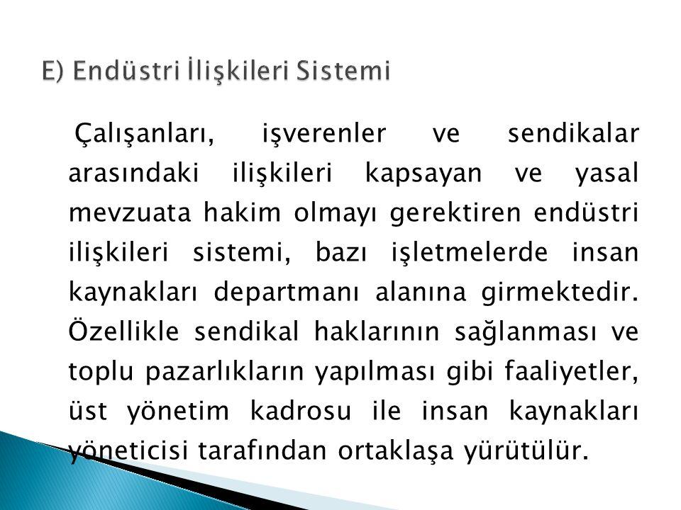 E) Endüstri İlişkileri Sistemi