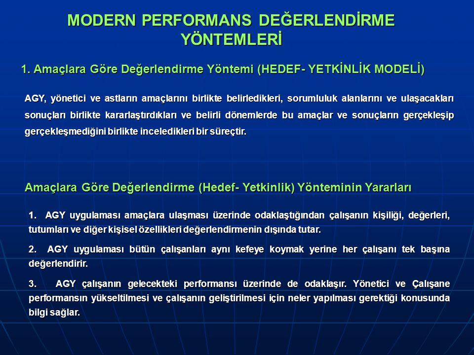 MODERN PERFORMANS DEĞERLENDİRME YÖNTEMLERİ