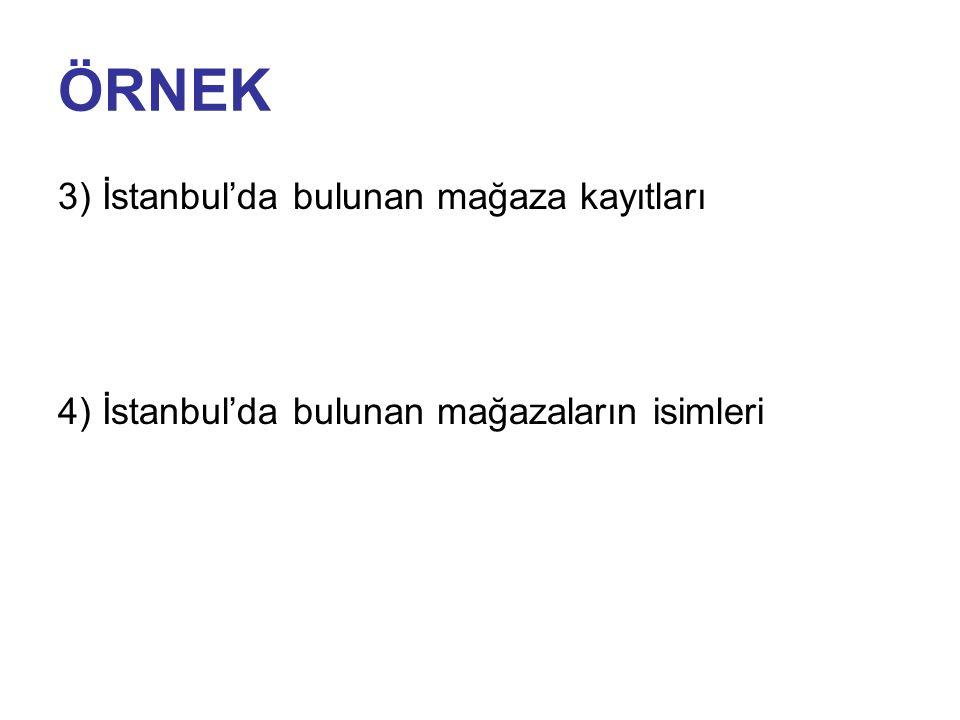ÖRNEK 3) İstanbul'da bulunan mağaza kayıtları