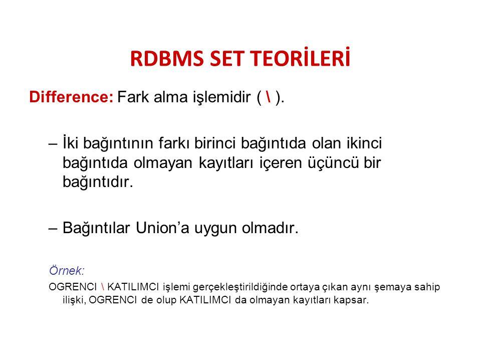 RDBMS SET TEORİLERİ Difference: Fark alma işlemidir ( \ ).
