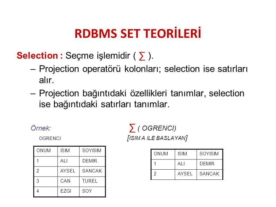 RDBMS SET TEORİLERİ Selection : Seçme işlemidir ( ∑ ).