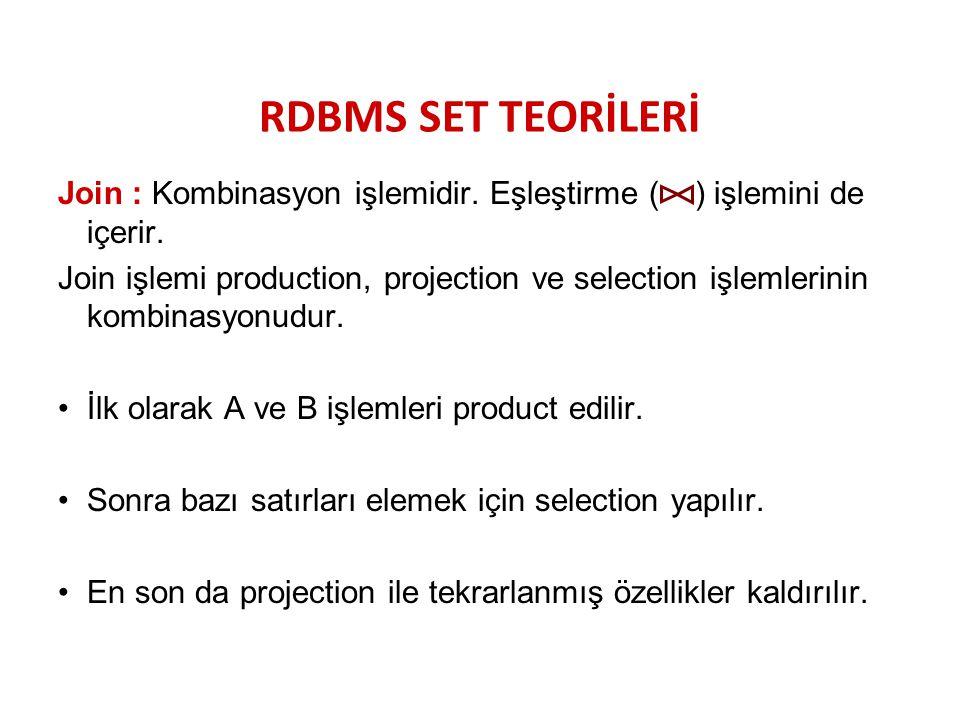 RDBMS SET TEORİLERİ Join : Kombinasyon işlemidir. Eşleştirme ( ) işlemini de içerir.