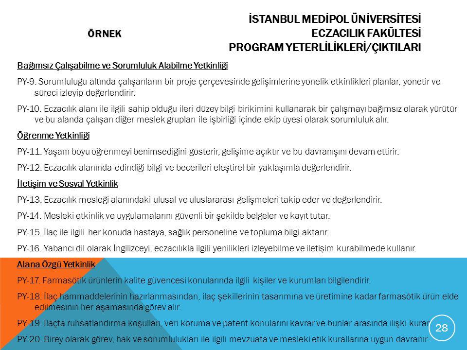 İSTANBUL MEDİPOL ÜNİVERSİTESİ ÖRNEK ECZACILIK FAKÜLTESİ PROGRAM YETERLİLİKLERİ/ÇIKTILARI