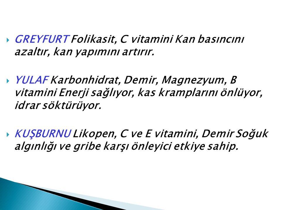 GREYFURT Folikasit, C vitamini Kan basıncını azaltır, kan yapımını artırır.