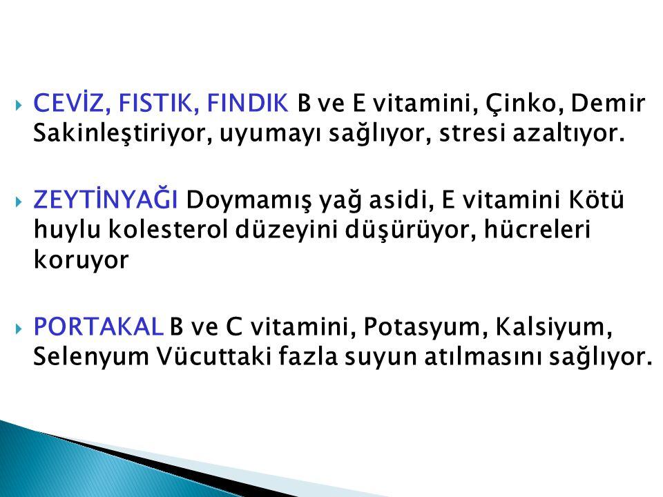 CEVİZ, FISTIK, FINDIK B ve E vitamini, Çinko, Demir Sakinleştiriyor, uyumayı sağlıyor, stresi azaltıyor.